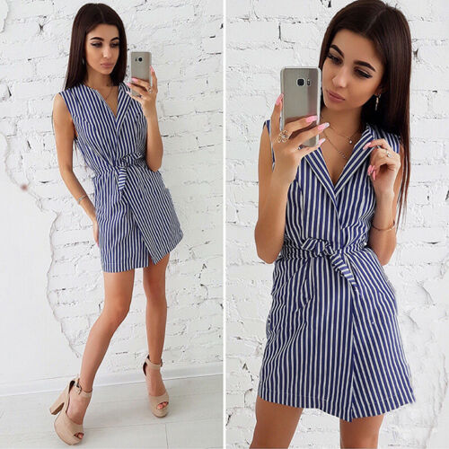 Fashion Women Striped Pattern Short Sleeve V Neck Lace Up Belt Dress B 3