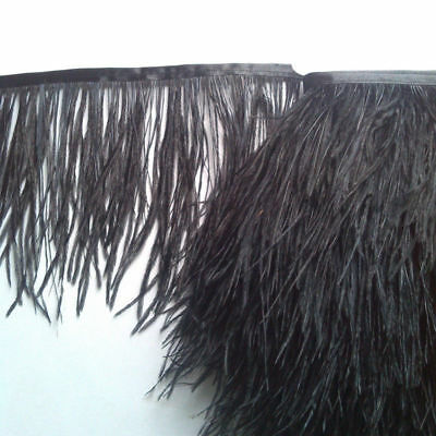 1 Yard DIY Ostrich Feather Dyed Fringe Trim for Costume Hat Craft Sewing Decor