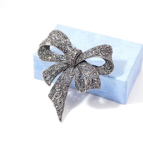 Vintage Enamel Art Deco Rhinestone Bow Tie Silvertone Pin Brooch Trinkets kim 5