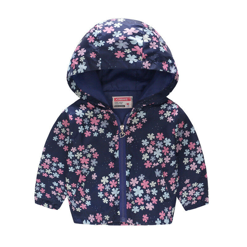 Kids Boys Girls Toddler Clothes Windproof Floral Hooded Coat Jacket Outerwear UK