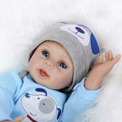 "22"" Newborn Reborn Lifelike Baby Silicone Vinyl Baby Boy Doll Blue Eyes New Gift 4"