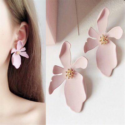 Fashion Boho Painting Big Flowers Ear Stud Earrings Women Charm Jewelry Gifts 9