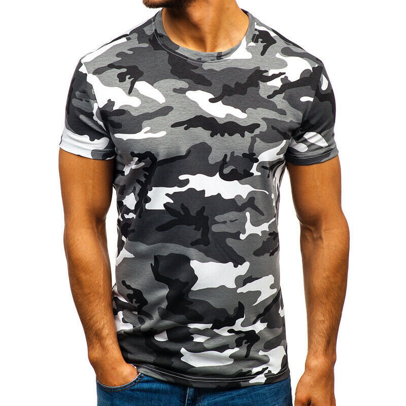 Mens City Camouflage Tactical Military Short Sleeve Army Camo T-Shirt Blouse Top 8