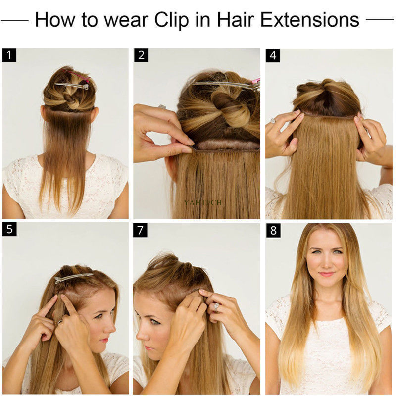 CLEARANCE Clip in Human Hair Extensions Full Head 100% Real Remy Hair Long Soft 4