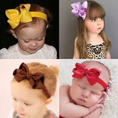 Newborn Kids Girls Headband Ribbon Elastic Baby Headdress Hair Band Bow Knot 9