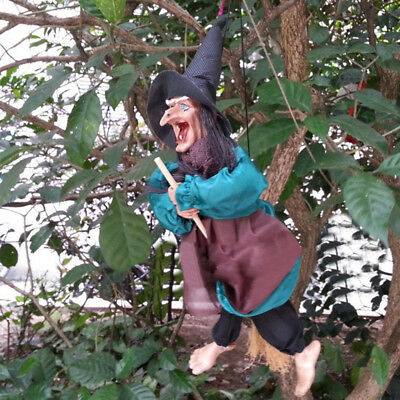 """12""""Halloween Hanging Animated Talking Witch Props Laughing Sound Control Decor E 3"""