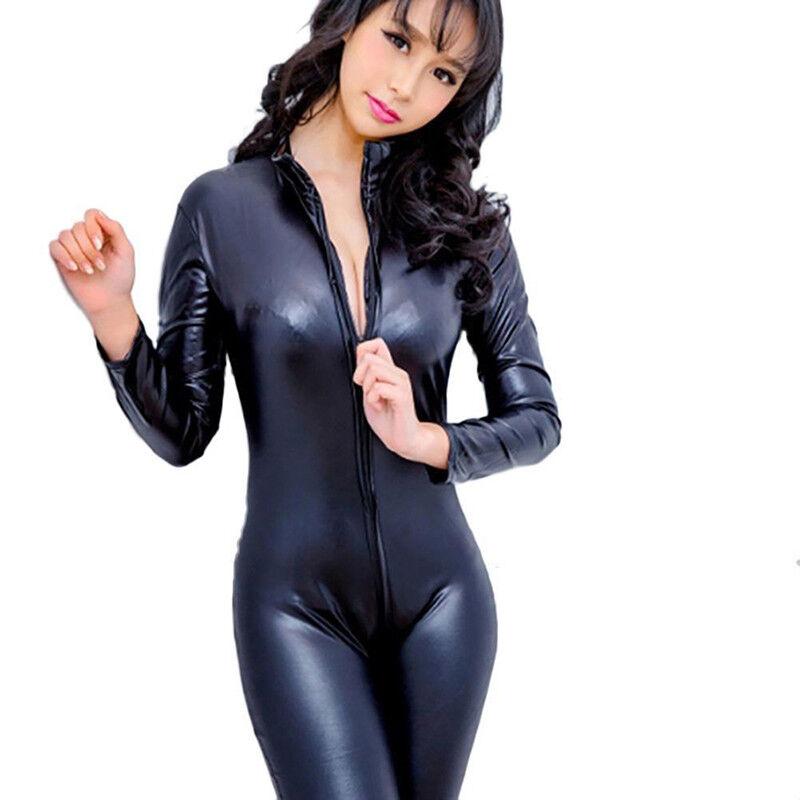 Women PU Leather Catsuit Clubwear Bodysuit Motor Jumpsuit PVC Cosplay Hot