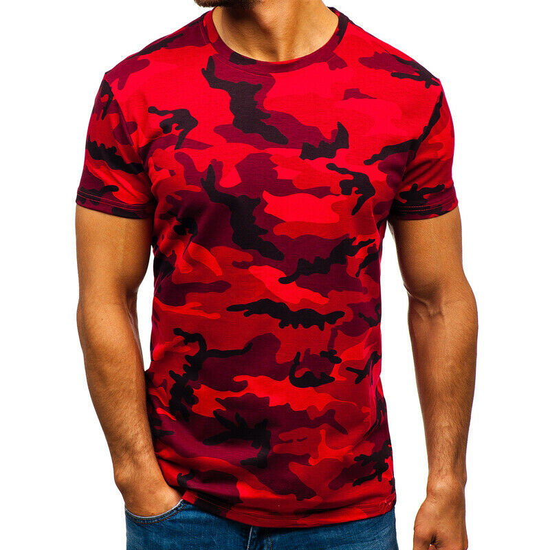 Mens City Camouflage Tactical Military Short Sleeve Army Camo T-Shirt Blouse Top 4