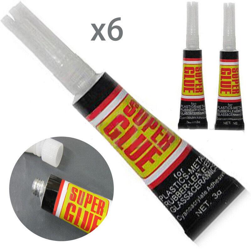 6/12pcs Super Glue Colle Rapide Adhésif Extra-Forte Cyanoacrylate Plastique Cuir 3