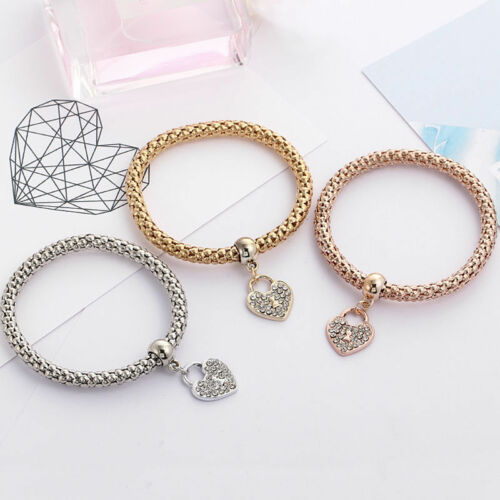 Fashion Women 3Pcs Gold Silver Rose Gold Bracelets Set Rhinestone Bangle Jewelry 10
