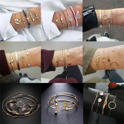 Women Stainless Steel Open Cuff Bracelet Bangle Chain Wristband Jewelry Gift New 9