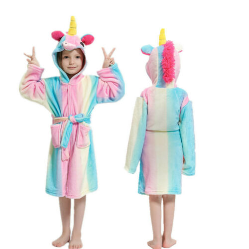 Kids Girls Boys Unicorn Dressing Gown Hooded Bath Robe Animal Print Night Wear 10