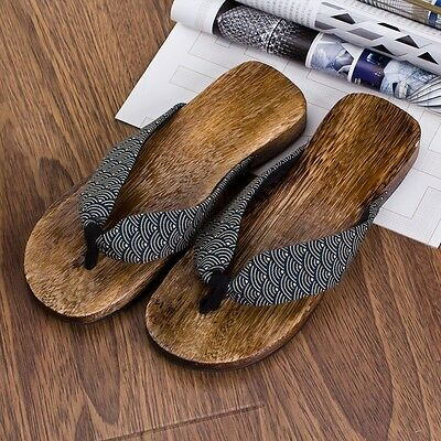 463b90362413 ... Mens Japanese Geta Clogs Flip Flops Thong Sandals Wooden Slippers Shoes  New Size 2