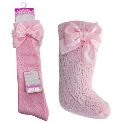 Baby Girls BOW Pellerine Socks Knee High white Grey Pink 4