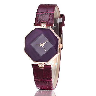 New Fashion Women 's Leather Band Analog Quartz Diamond Wrist Watch Watches 8