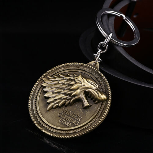 Game of Thrones House Stark Head Targaryen Baratheon 3D Metal Keyring Keychain 10