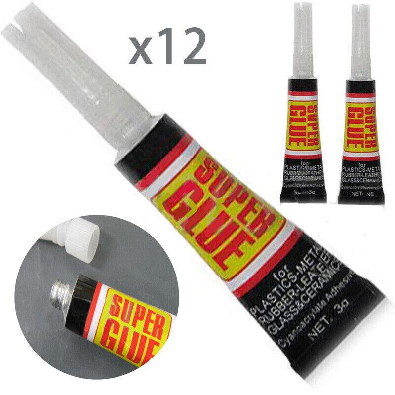 6/12pcs Super Glue Colle Rapide Adhésif Extra-Forte Cyanoacrylate Plastique Cuir 4
