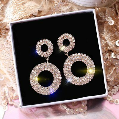 925 Silver Luxury Crystal Round Drop Dangle Earrings Womens Jewellery Gift Party 2