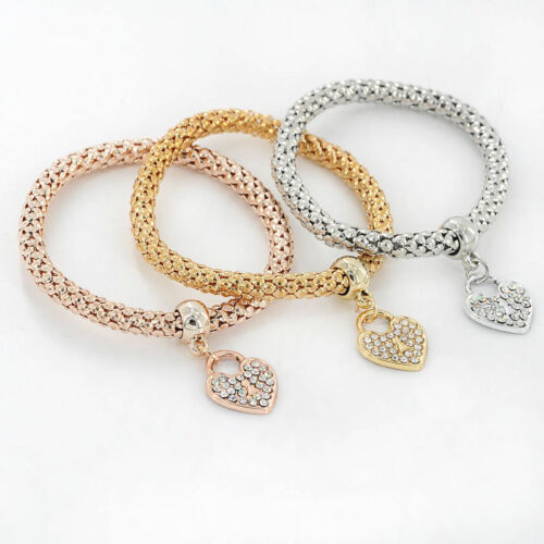 Fashion Women 3Pcs Gold Silver Rose Gold Bracelets Set Rhinestone Bangle Jewelry 11