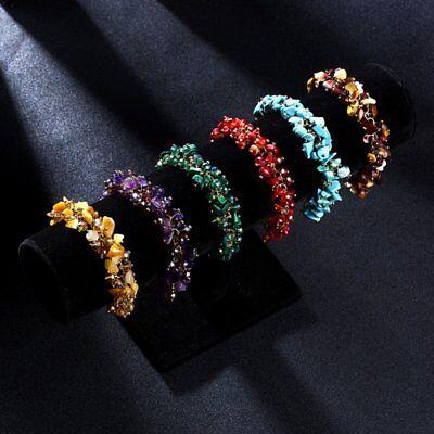 Natural Crystal Stone Chipped Raw Bracelet Women Quartz Bangle Lucky Jewelry New 9