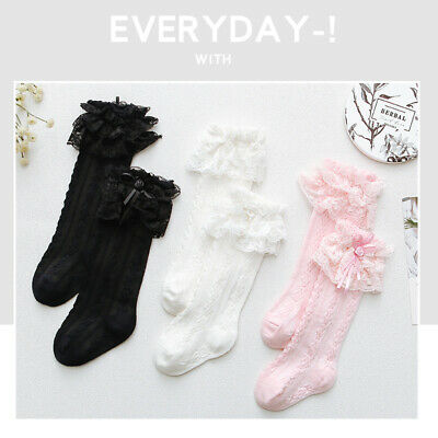 Baby Girls Kids Toddler Vintage Frilly Lace Knee High School Wedding Party Socks 4