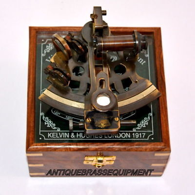 Marine Collectible Brass Working Vintage German Nautical Sextant With Wooden Box 2