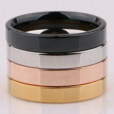 3mm Silver/Gold/Rose Gold/Black Band Women Men's Titanium Steel Engagement Ring 2
