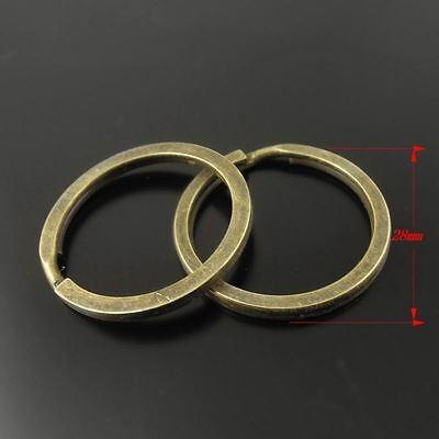 30X Vintage Style Bronze Tone Key Chians key Rings Findings 28*28*2mm 2
