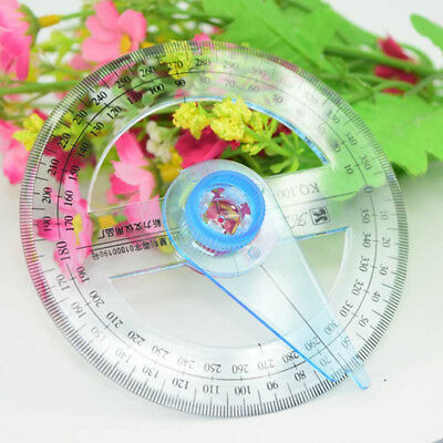 Circular Plastic 360 Degree Pointer Protractor Ruler School Office Tool Supplies 7