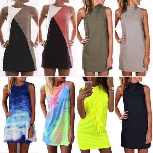 3b2aea9adfb Womens Plus Size Sleeveless Tunic Top Dress Lady Evening Party Cocktail  Sundress 2 2 of 12 ...