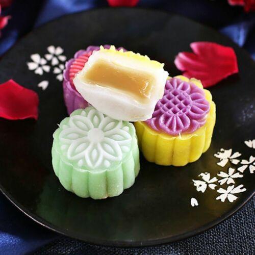 4pcs 125g 3D Flower Stamps Moon Cake Decor Mould Barrel Round Mooncake Mold 10