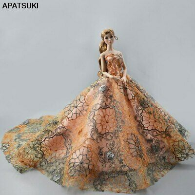 "Orange Fashion Wedding Dress for 11.5"" Doll Clothes Princess Evening Dress Toy 2"