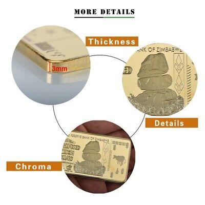 Zimbabwe 100 Trillion Dollars Gold Foil Bullion Bar Ingot (Zm1GB)