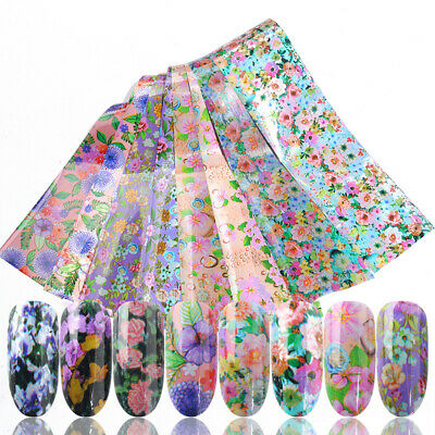 Holographic Flower Nail Foils Decal Nail Art Transfer Stickers Decoration Tips 6