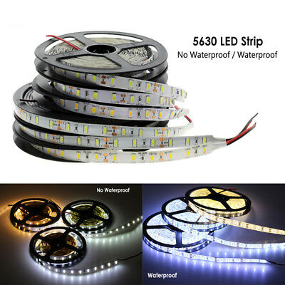 5M SMD 300 600 LED 3014 3528 5050 5630 Waterproof Flexible Strip Light 12V White 5