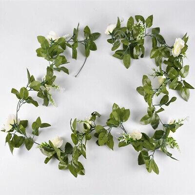 2.5m Artificial Flower Silk Rose Leaf Garland Vine Ivy Home Wedding Garden Deor 10