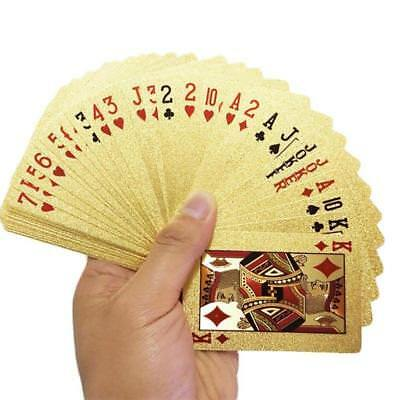 54 Plastic 24K Gold Foil Plated Playing Cards Poker Game Euro Cards For Party 3