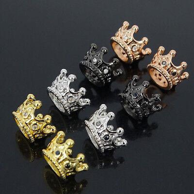 Zircon Gemstones Pave Queen Crown Big Hole DIY Bracelets Connector Charm Beads 3