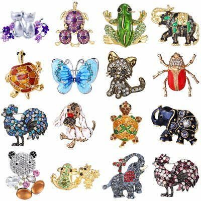 Rhinestone Crystal Animal Frog Turtle Elephant Cat Dog Brooch Pin Women Jewelly 2