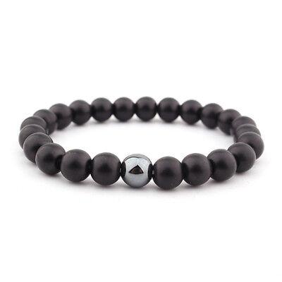 Mens Matte Black Onyx Yoga Energy Beaded Bracelet Boyfriend Gift for Him Jewelry 8