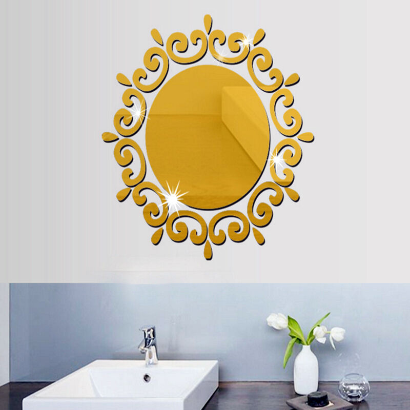 12PCS 3D MIRROR Hexagon Vinyl Removable Wall Sticker Decal Home ...