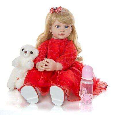 Cute 24 Inch Reborn Toddler Doll Newborn Baby Girl Doll Lovely Long Hair Doll 3