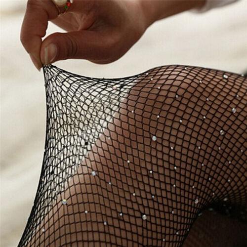 Women Crystal Rhinestone Fishnet Net Mesh Socks Stockings Tights Pantyhose S3 6