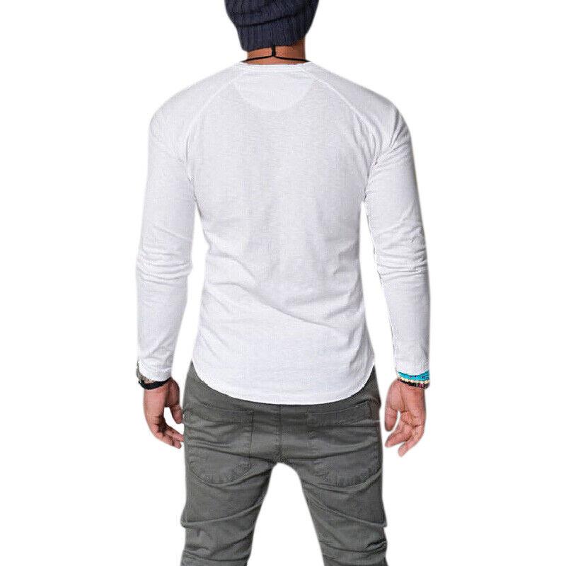 Mens Plain Muscle Tee Long Sleeve V Neck T-Shirt Casual Top Blouse Henley Shirts 5