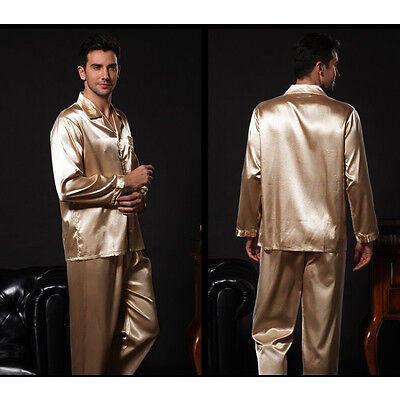 ba13dc3bfe 2 of 5 NWT 2PCS Mens Silk Satin Pajamas Sleepwear Pyjamas PJS Long Sleeve  M009 M L