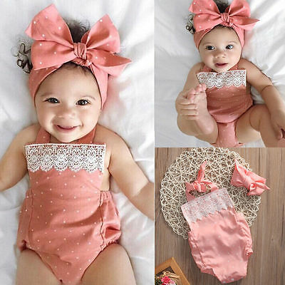Newborn Baby Girls Romper Jumpsuit Bodysuit Infant Headband Clothes Outfits Id 2
