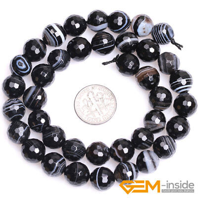 """Natural Faceted Gemstone Black Stripe Agate Round Beads For Jewelry Making 15""""Y 7"""
