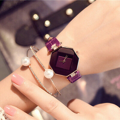 New Fashion Women 's Leather Band Analog Quartz Diamond Wrist Watch Watches 4
