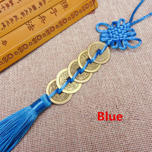 Chinese Feng Shui Protection Lucky Fortune Charm Red Tassel String Tied Coins LH 10