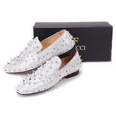 28377fb43318 ... Men FERUCCI Silver Spikes Slippers Loafers Flat With Crystal GZ  Rhinestone 7